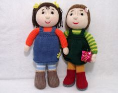Two dolls knitting patterns deal.Toy knitting pattern. PDF instant download knitting pattern.