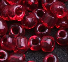 4mm Transparent Wine Red Glass Tube Lamp Work Loose Seed Beads Fit Making Jewelry