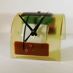 SALEEnd over End  Fused Glass Clock by blueheron on Etsy,