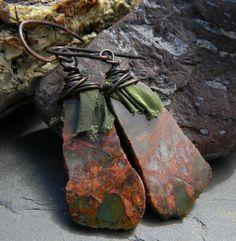 African Green Opal Earrings Copper Wire Wrap by ChrysalisToo