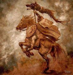 dacian warrior with dracones flag