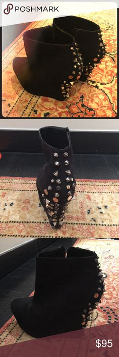 Ankle boots from Carvela by Kurt Geiger Gorgeous pair from Carvela Kurt Geiger in black suede with dark grey studs on the back and heels. Heel height: 5 inches with 2 inches platform at the front. NEVER WORN!! Shoes Ankle Boots & Booties