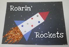 R is for Rockets. Will be using the names of the children as the rocket's tube (the white part shown in this picture).