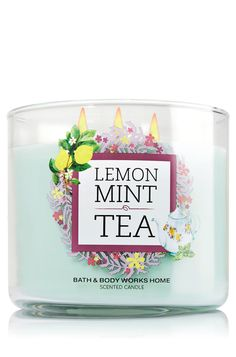 Bath & Body Works Lemon Mint Tea 3-Wick Candle | Refreshing spearmint leaves combine with fresh zesty lemon and verbena to delight your senses