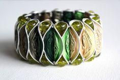 Kaffeekapsel-Armband grün von Frollein Müller auf DaWanda.com