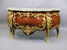 """Gilt Bronze Mounted And Parquetry Inlaid Louis XV Style Commode Ca1880 France. 35""""H x 65""""W x 26""""D."""