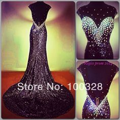 Custom Made Mermaid Floor-Length Court Train Cap Sleeve Scoop with Crystal Open Back Long Prom Dresses 2014 New Design Dress Prom, Mermaid Evening Dresses, Pageant Dresses, Formal Gowns, Grad Dresses, Ball Dresses, Pageant Gowns, Homecoming Dresses, Dress Formal