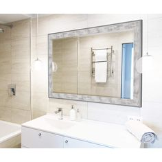 "Hitchcock Butterfield Iconica Wall Mirror 15.75""W x 33.75""H, White and Silver, SemiGloss 2557000"