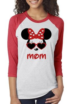 Women's Vintage Heather White  Baseball Tee Raglan Personalized Minnie Mouse Heart Glasses with Your NAME or MOM - Disney Family Shirts
