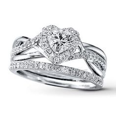 Diamond Bridal Set 7 8 Ct Tw Heart Shaped 14k White Gold
