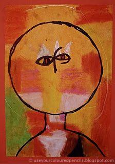 Paul Klee Sponge paint lesson use paper plate to mask paint