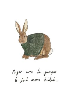 Roger Rabbit Wearing A Sweater (Content in a Cottage) Art And Illustration, Roger Rabbit, Bunny Art, Beatrix Potter, Tumblr, Make Me Smile, Creatures, Sketches, Drawings