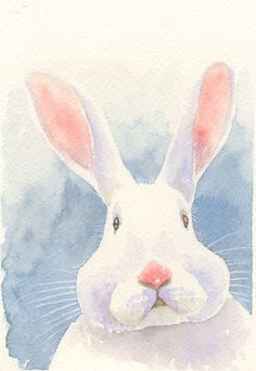 """ACEO giclee print of original watercolor painting """"the puzzling bunny"""" rabbit #ArtDeco"""