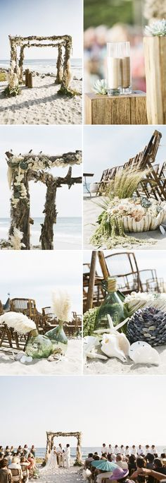 Beach Decor  What if we put brown ivy twiggs like this on the pillars then hung the clear and pearl plastic ornaments and shells for the dance floor and string netting and lights