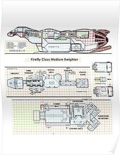 'Serenity Firefly floorplan schematics' Poster by Radwulf Spaceship Interior, Spaceship Design, Spaceship Concept, Concept Ships, Firefly Ship, Firefly Art, Serenity Ship, Firefly Serenity, Shed House Plans