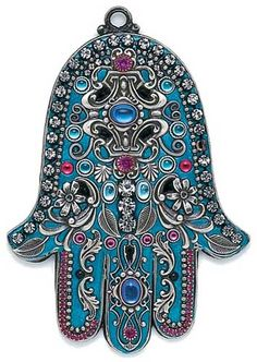 HAMSA___by Michal Golan Blue and Silver Leaf Motif Wall Hamsa . The Hamsa Prayer Let no sadness come to this heart Let no trouble come to… Hamsa Prayer, Beaded Beads, Hamsa Art, Hamsa Design, Silver Walls, Hand Of Fatima, Jewish Art, Blue And Silver, Tatting