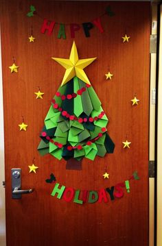 Christmas tree door decor at work.
