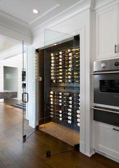 PIN: HeatherDelamorton Glass Wine Cellar, Home Wine Cellars, Wine Cellar Design, Appartement Design, Wine Wall, Wine Cabinets, Kitchen Cabinets, Kitchen Doors, Wine Fridge