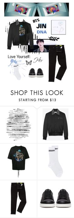 """BTS: JIN ""DNA"" M/V Outfit"" by itzbrizo ❤ liked on Polyvore featuring Camp, Yves Saint Laurent, Palm Angels, GCDS, Versace and Undercover"