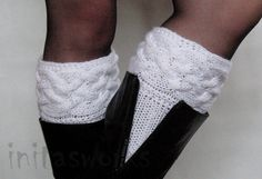 White Boot Cuff Boot Toppers Leg Warmers Boot Socks by Initasworks, $35.00