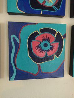 Poppy blues painting Etsy shop https://www.etsy.com/listing/249802462/poppy-blues-01-12x12-original-painting
