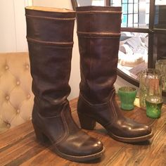 FRYE  Jane 14 L , mahogany/dark brown Tumbled full grain leather upper, leather lined, leather outsole. 14 1/2 inch shaft height, 15 inch shaft circumference, 2 inch heel.   Shows normal wear and tear on front toe (shown in picture) .  No box. Frye Shoes Heeled Boots