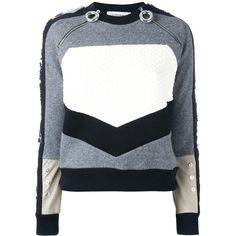 Carven colour block jumper (38.155 RUB) ❤ liked on Polyvore featuring tops, sweaters, grey, jumpers sweaters, grey sweater, carven sweater, grey top and block top