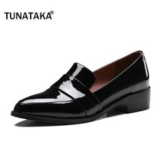 bd3cffd496cd46 Comfort Square Heel Pointed Toe Woman Genuine Leather Pumps Fashion Slip On  Dress High Heel Shoes