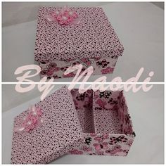 Caixa para presente - forrada em tecido - 16x16 cm - 2 divisórias