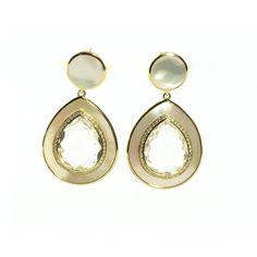 Ippolita Yellow Gold Clear Quartz Mother Of Pearl Diamond Earrings Teardrop