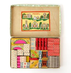 Vintage Acme Building Blocks - the box is familiar but  as they had passed through many hands before they came to me - they had lost their colour and pattern
