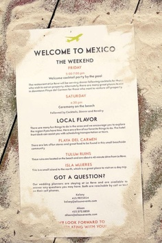 Wedding Planning destination wedding schedule - I just love me a good Mexico wedding on the beach. I seriously can't get enough of them and their stormy skies and effortlessly hip design. I go nuts for them each and every time! Before Wedding, Wedding Tips, Wedding Details, Our Wedding, Wedding Planning, Dream Wedding, Wedding Weekend, Wedding Hacks, Perfect Wedding