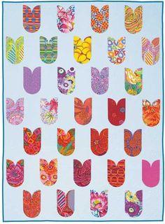 Natalie quilt pattern by Main Street Market Designs:  Make tulips from Drunkard Path blocks