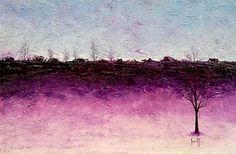 Paisaje violeta con árboles Oleo sobre Tela. 41x60cms. 2007. Colección Juan José Rodríguez