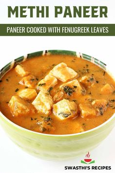 Methi paneer is a delicious curry featuring Indian cottage cheese, fenugreek leaves, spices, onions and tomatoes. This simple recipe is great on flavors and is easy to make for a weeknight dinner. Serve this methi paneer with basmati rice, flavoured rice varieties like jeera rice, ghee rice or with plain parathas, naan or roti. In this post I share the stovetop method to make this healthy gluten-free dish. Paneer Recipes, Curry Recipes, Vegetarian Recipes, Cooking Recipes, North Indian Recipes, Indian Food Recipes, Ethnic Recipes, Paneer Dishes, Jeera Rice