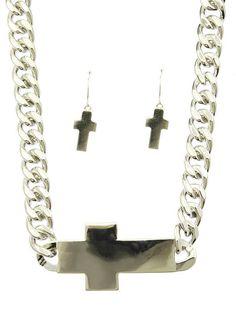 Necklace And Earring Set Metal Cross Chain Bib Fish Hook 14 Inch Long 1 1/4 Inch Drop