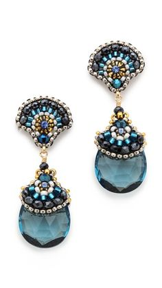 Seed beads anchor the faceted quartz drops on these Miguel Ases earrings. Swarovski crystal accents. 14k gold-fill post closure.  Made in the USA.  Measurements Length: 1.75in / 4.5cm $256.00  Made in ...