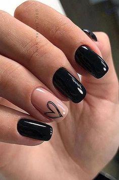 Black Nail Designs, Short Nail Designs, Acrylic Nail Designs, Nail Art Designs, Nails Design, Nail Designs With Hearts, Gel Nail Polish Designs, Creative Nail Designs, Simple Acrylic Nails