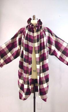 2f14e8377485e Ungaro 80s Vintage 1980s Modified Cape Coat Cloak Plaid Purple Black Wool  M/L Black