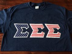 Tri Sigma American Stitched Lettered Shirt by GreekStitchedShirts
