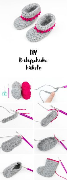 Babyschuhe mit Anleitung häkeln - ein tolles DIY Geschenk zur Geburt Crochet Cardigan Pattern, Scarf Crochet, Lace Knitting Patterns, Diy Crochet, Tutorial Crochet, Crochet Earrings, Crochet Shoes, Slippers Crochet, Baby Slippers