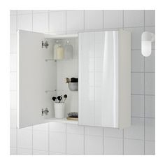 LILLÅNGEN Mirror cabinet with 2 doors, white white 23 5/8x8 1/4x25 1/4