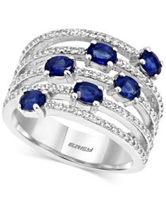 EFFY Sapphire (1-3/8 ct. t.w.) and Diamond (3/8 ct. t.w.) Ring in 14k White Gold