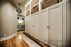 Mud Room with built-in lockers - contemporary - entry - calgary - Veranda Estate Homes & Interiors