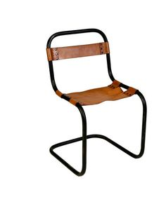 A simple form with maximum impact, this metal-frame chair features a supple leather seat and backrest, with metal rivets for an industrial look. An ideal pick for a clubby office, a dining area, or a den or living room.