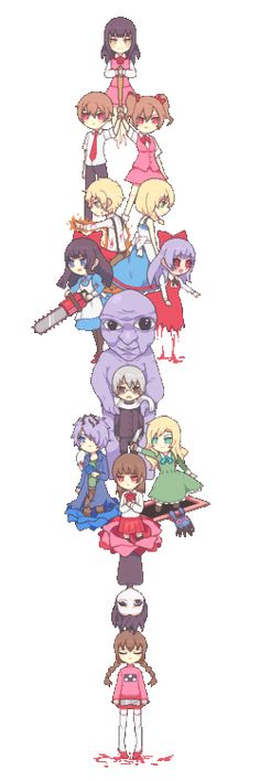 Misao, Mad Father, Witches House, Ib, etc. Could be used for cosplay ideas...
