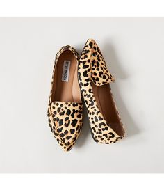 Steve Madden Feather Leopard Print Calf Hair Loafers
