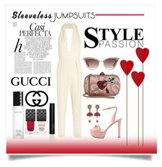 """""""Sleeveless Jumpsuit"""" by conch-lady ❤ liked on Polyvore featuring Gucci, Whiteley, gucci and sleevelessjumpsuits"""