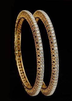 Diamond Jewelry Evergreen Single Line Party / Wedding Bangles Pair in Gold with Real Diamond - Real Gold Jewelry, Indian Jewelry, Vintage Jewelry, Fine Jewelry, Gold Jewellery, Luxury Jewelry, Jewelry Stand, Women's Jewelry, Jewelry Ideas