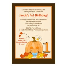 Pumpkin Babys 1st Birthday Halloween 5x7 Invite